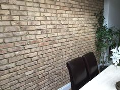Residential make over of this Dining Room, using the Smoked Peach Brick Slips from Kuci Design Living Room, Furniture, Room, House, Dining, Residential, Dining Area, Brick, Dining Room Furniture