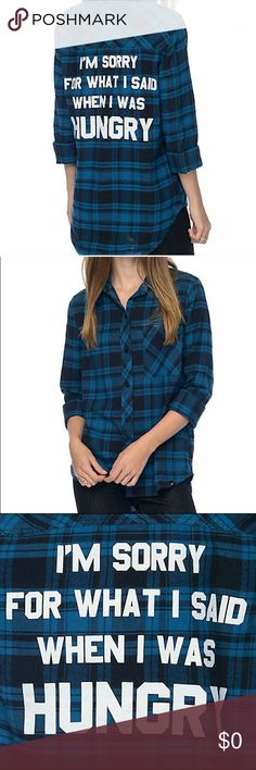 NWT JV by Jac Vanek Sorry Flannel Shirt I'm obsessed with this brand! It's in pristine condition and new with tags. I bought this from another posher but it was too small so my loss is your gain. If anyone has this top in a M/L let me know. Jac Vanek Tops Tees - Long Sleeve