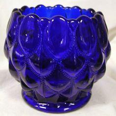 Cobalt Blue Glass Elizabeth Pattern Candy Dish Rose Bowl by Mosser Glass,