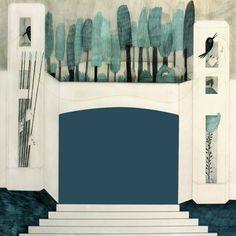 Lo mío es puro teatro. Teatrillos de papel. by Esther Gómez Madrid, via Behance. Possibly gouache and/or colored pencil?