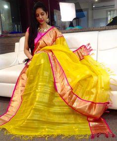 Yellow dupata with long gown from the house of Mugdha art studioCode No : SC - 224Whatsapp-8142029190/9010906544PH:040-65550855/9949047889 27 November 2016
