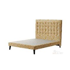 #bedBUILDER® Customised Venus Queen #Bed: Buttoned #Headboard, #Patterns #Fabric, Kyneton Buttercup Colour,  Slimline Base, Tapered Timber Legs, Queen Size #bedroom #inspiration #decor