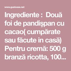 Ingrediente : Două foi de pandişpan cu cacao( cumpărate sau făcute in casă) Pentru cremă: 500 g branză ricotta, 100 g smântână, 50 g mascarpone, 150 g zahăr, 50 g cacao, 3 pliculeţe cu zahăr vanilat, 1-2 picături esenţă de migdale, 300g visine fără samburi Pentru sirop: 100 g zahăr, 150 ml apă, 4 linguri …