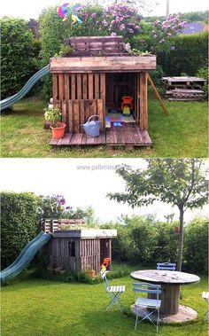 pallets made kids garden playhouse