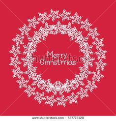 Round frame of snowflakes. Merry Christmas and happy new year. Vector illustration isolated on red background for decorating cards, christmas packaging, poster, celebratory events.