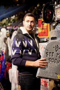 Richard Armitage frowning in a Halloween shop – Picture by Ben Rayner, 2013