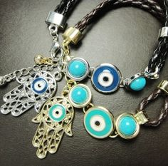 Polychromatic sets accessories wholesale evil eye bracelet Fatima bracelet with blue eyes hand Turkey Ms send free
