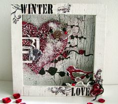 a handful of handicrafts: Oh baby, it's cold outside #shadowbox #mixedmedia