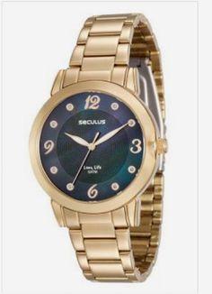 9135e4078c4 23553LPSVDA2 Relógio Feminino Dourado Seculus Analógico