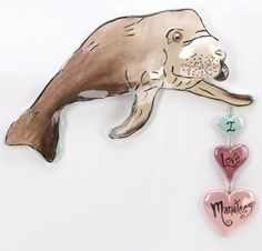 I Love Manatees Plaque Pay tribute to the gentlest of sea creatures with this whimsical decoration! Sweet ceramic manatee bestows a simple message of love that lifts the heart. Love Gifts For Her, My Love, Reptiles, Amphibians, Decor Around Tv, Cheap Wall Decor, Fantasy Dragon, Hanging Wall Art, Wall Plaques