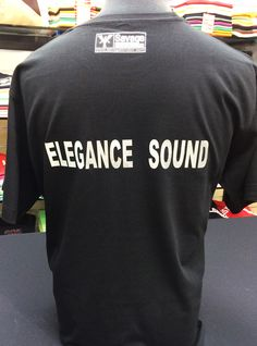 Elegance sound system - a music company. We made for these guys and t-shirts with a company logo in a foil silver print as well as a big fabric for a promotion day. We print any company's logos, slogans, images, photos and any designs in  different print processes.   #customprint #customprintedshirts #customprinting #tshirt #music #elegancesound #tshirtprinting #branding #brandtshirtprint #savagelondon #personalisedtshirt Custom Printed Shirts, Images Photos, Personalized T Shirts, Hoodies, Sweatshirts, Slogan, Promotion, Underwear, Company Logo