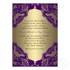 Purple and Gold Wedding Invitation - would be cute in Silver and teal or yellow for my colors