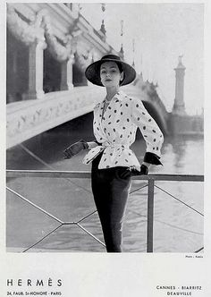 Wearing Hermès couture, photograph by Tom Kublin 1950.