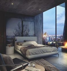 Ethan's penthouse | bedroom in the evening