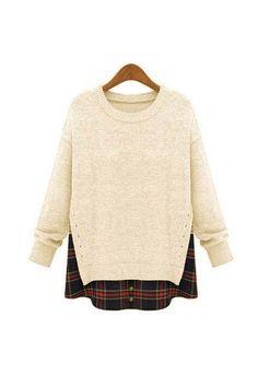Cream White Side Slit Crewneck Red Plaid Sweater