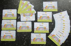 Days and Months flash cards, 2 designs available. Large size 13.5 cm x 9.5cm