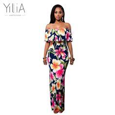 Yilia Women Boho Maxi Dress 17 New Spring Summer Style Off Shoulder Ruffled  Print Long Dresses 9facdc554045