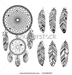 Collection of hand drawn feather and dreamcatchers, vector Ink illustration isolated on white background. Native american indian traditional symbols, tribal and ethnic boho theme
