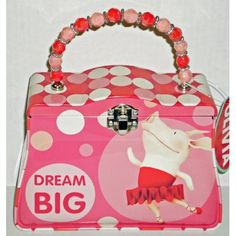 """Olivia the Pig """"Dream Big"""" Classic Purse Tin with Beaded Handle"""