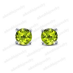 14k White Gold On 925 Sterling Silver Round Cut Peridot Solitaire Stud Earrings #adorablejewelry #StudEarrings