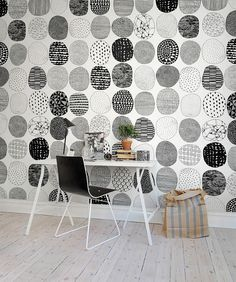 Lovely custom wall coveing for the black and white home office - Decoist