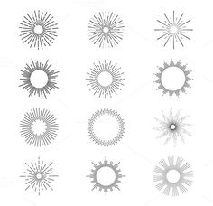 Sunburst Vector set. Web Elements. $4.00