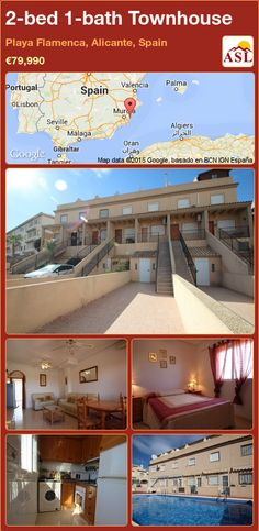 Townhouse for Sale in Playa Flamenca, Alicante, Spain with 2 bedrooms, 1 bathroom - A Spanish Life Valencia, Portugal, Alicante Spain, Seaside Resort, Family Bathroom, Double Bedroom, Shopping Center, Open Plan, Rooftop