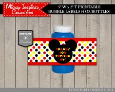 INSTANT DOWNLOAD Mickey Mouse Inspired Bubble Labels by DivinePartyDesign, $2.00. Printable DIY.