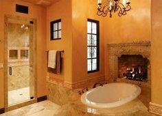Романтичная обстановка с камином. Камин в ванной