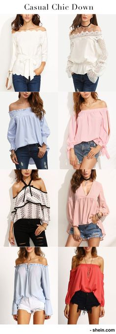 Casual chic down with pretty blouse! Off shoulder blouse, ruffle blouse. Must-have casual street style item for icons! Shop online now!