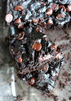 Black Bean Avocado Chocolate Chip Fudge Brownies {gluten-free & low-fat}...A delicious low-fat and naturally gluten-free fudgy brownie made with black beans and avocado. Unbelievably delicious! These even fool kids!