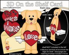 3D On The Shelf Card Kit - Valentine Heart Love & Romance Little Golden Labrador Dog Sunny