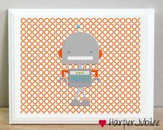 Robot Orange Boys Room Playroom Nursery Printable Art Print 8x10. $5.00, via Etsy.