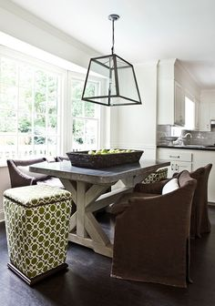 Melanie Turner Interiors: Beautiful dining room design with Restoration Hardware Filament Pendant, Restoration . Zinc Table, Concrete Dining Table, Rustic Table, Farmhouse Table, Dining Room Table, Table And Chairs, Trestle Table, Kitchen Tables, Dining Chairs