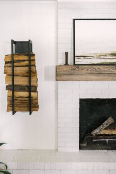 How to Paint a Fireplace - Dated Fireplace Transformation - Our Flip House - Modern Living Room - White Paint Wood Mantle - Modern Boho Living Room - Metal Firewood Wall Holder - Fireplace DIY - DIY Paint Fireplace - Farmhouse Living - Jolie Paint - Easy DIY Project -  Flip House