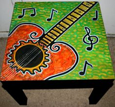 "Music Lover Table. This is a brand new table made out of high density mdf measuring 22""x22""x18"". Easy assembly with screw on legs. Hand painted and triple sealed by Rick cheadle see more funky stuff here http://rickcheadle.blogspot.com/"