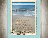 Beach Seaside Personalized PHotograph- Great Wedding present! check out www.sandwritingbythesea.com for other items to match.