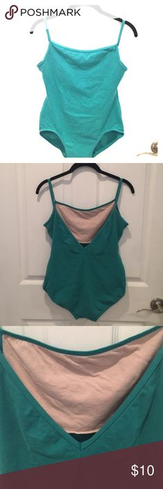 Mirella Teal Leotard with Shelf Bra Lining Teal leotard with shelf bra lining, spaghetti straps, and V-shape open back. Perfect for dancers, ballerinas, music festivals, or to wear as a body suit or shape wear! Pre-loved, but in great condition! Mirella Other