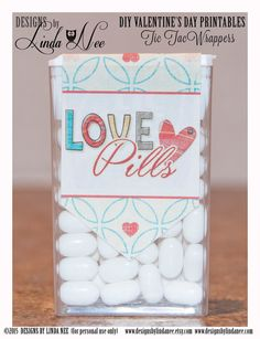 Tic Tac LOVE PILLS - Printable tic tac labels that you attach to a pack of tic tacs! They make perfect Valentines, Anniversary or gifts for