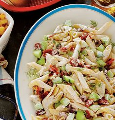 Tangy Tzatziki Pasta Salad Recipe Easy and delicious. Light for a pasty salad and you can use whole wheat pasta to make it extra healthy. Easy Pasta Salad Recipe, Best Pasta Salad, Pasta Recipes, Cooking Recipes, Healthy Recipes, Chicken Recipes, Grilled Recipes, Recipe Chicken, Cooking Tips