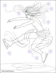 Free Coloring Pages: Princesse de lHiver Copyright Nicole Florian. Ice Skating Party, Skate Party, Coloring Pages For Kids, Coloring Sheets, Figure Skating, Winter Christmas, Paper Dolls, Sewing Projects, Applique