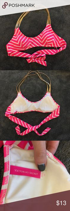 Bikini Top Victoria's Secret stripe hot pink/white bikini top. Gold multiple neck strap. Great condition, worn 2-3 times. Slight stains from tanning oil (see picture) not from the outside and can probably come off in the wash! Victoria's Secret Swim Bikinis