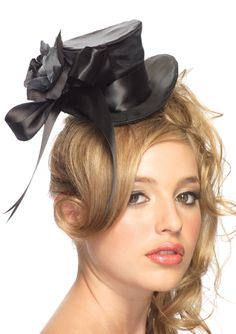 Black Satin Top Hat With Rose - Unique Vintage - Prom dresses, retro dresses, retro swimsuits.