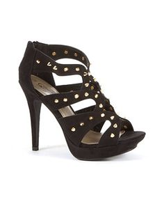 Black (Black) Black Studded Strap Cage Heels | 264317101 | New Look