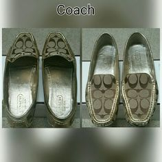 """Coach Sheela Signature  Loafer """"FINAL PRICE """" No stain or rip  The only flaws is the back of the shoes and toes part look picture # 3 & 4 . Other than that it is in very good condition  Even though it says size 7.5 it will fit size 8  It will come with the perfect original box . Only wear once a week to church. Coach Shoes Flats & Loafers"""