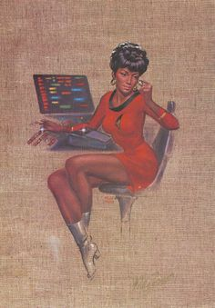 """Officers of the Deck"" Star Trek's Lt. Nyota Uhura. Art by Kelly Freas."