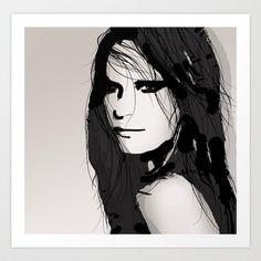 Vogue - portrait - Fashion Illustration black & white Art Print by Allison Reich - $17.00