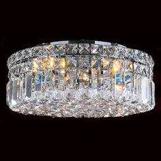 """Contemporary 4 light Polished Chrome Finish with Faceted Crystal Ball Prism 14"""" Round Flush Mount Ceiling Light"""