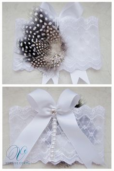 handmade wedding garter with lace, pearls, bow, feathers and swarovski crystals, source: www.vertigo.com.pl