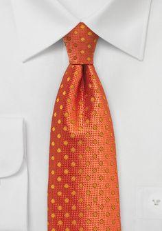Monochromatic Polka Dot Tie in Bright Orange